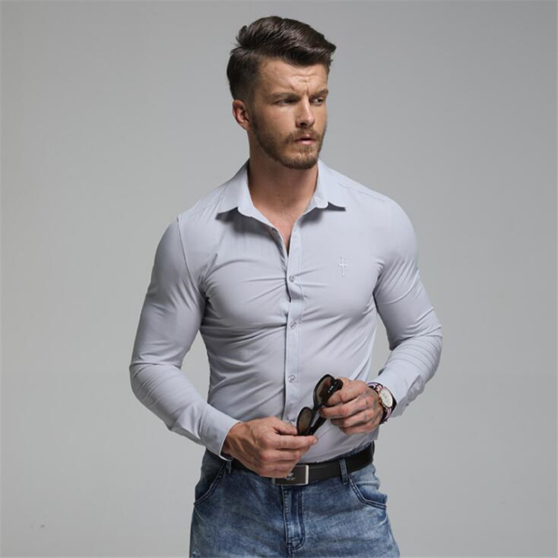 2019 New Arrival Men Long Sleeve Business Dress Shirt Fashion Casual 100% Cotton Slim Fit Wedding Shirt Formal Brand Clothing