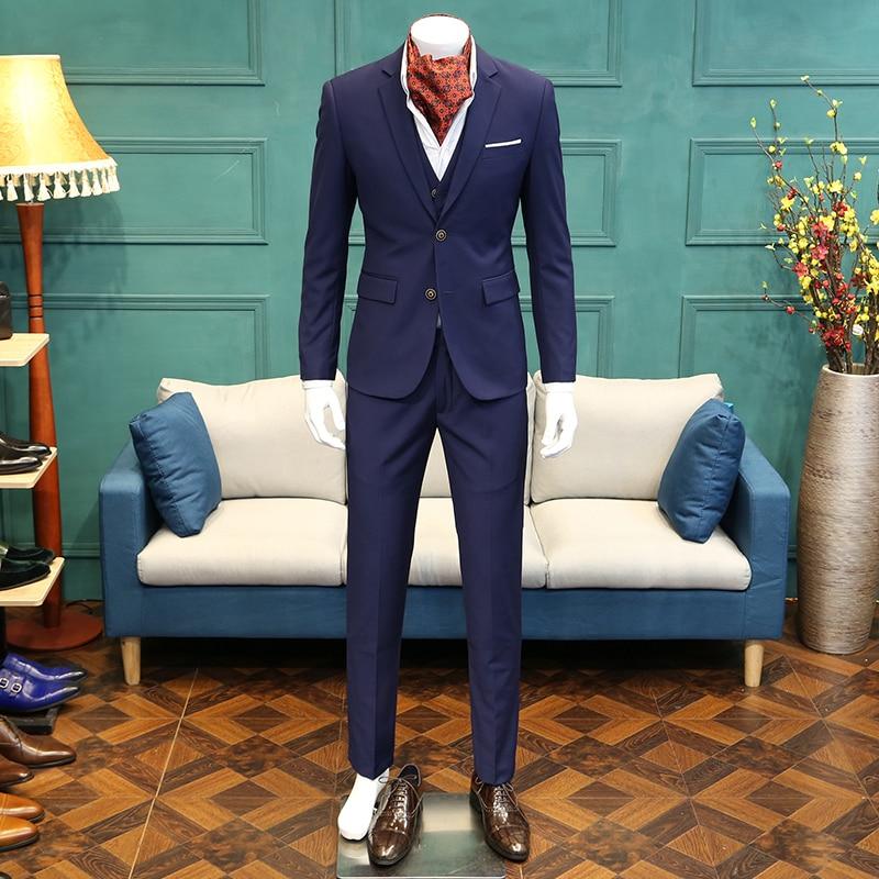 2019 nuevos trajes de moda 3 piezas para hombre delgado traje casual - Ropa de hombre