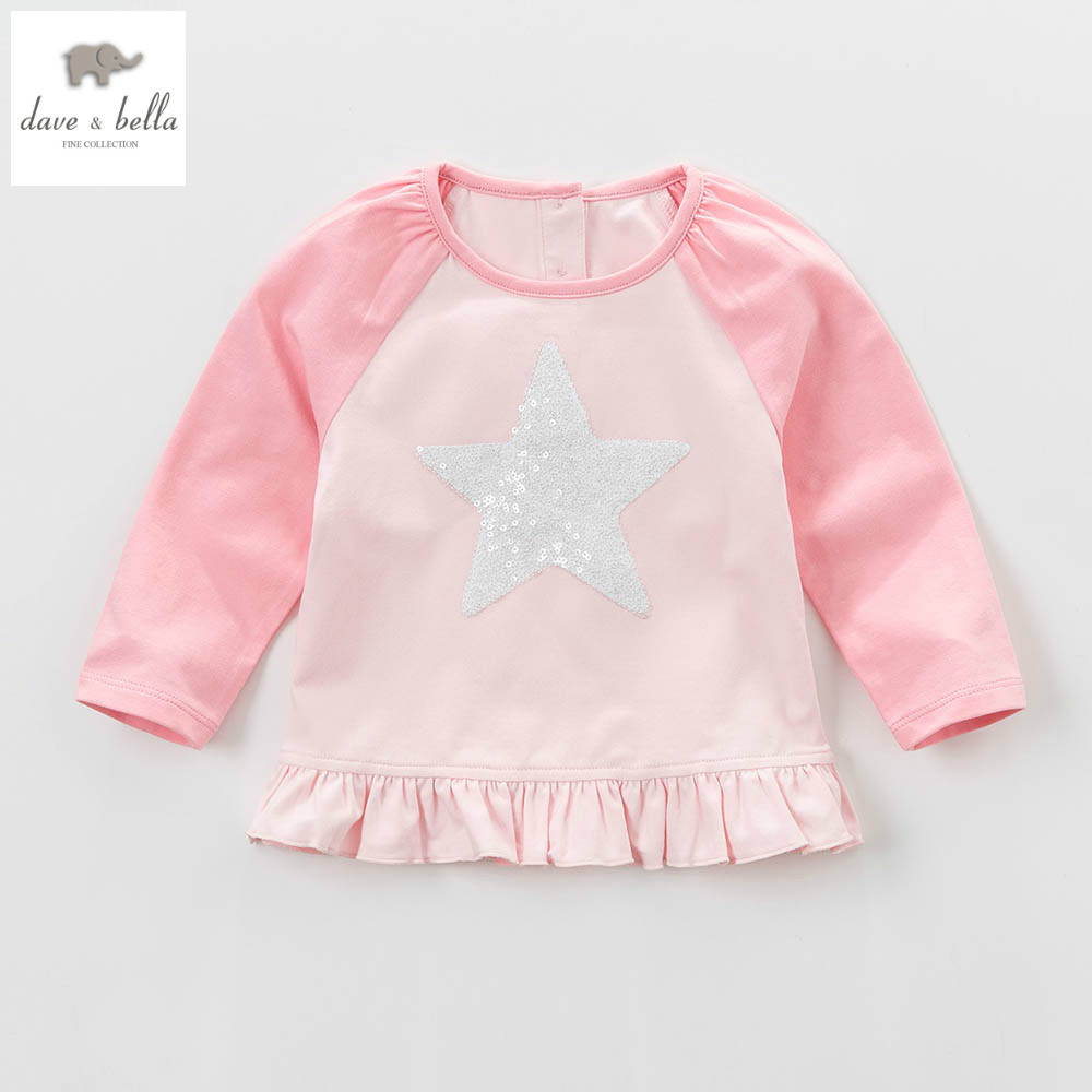 DB4426 dave bella spring baby girls cute t-shirt girls cotton tee baby tops infant clothes toddle t-shirt fancy Tees