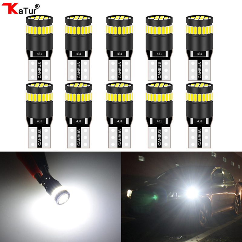 Katur 10pcs <font><b>T10</b></font> <font><b>Led</b></font> Canbus W5W 194 168 2825 Lamps Car Dome Map Door Trunk License Plate Lights White 12V Wedge Diode <font><b>Bombilla</b></font> image