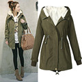 Ladies long-sleeved Hooded Parka Fleece Top Winter Warm Womens Long cashmere drawstring Jacket Coat