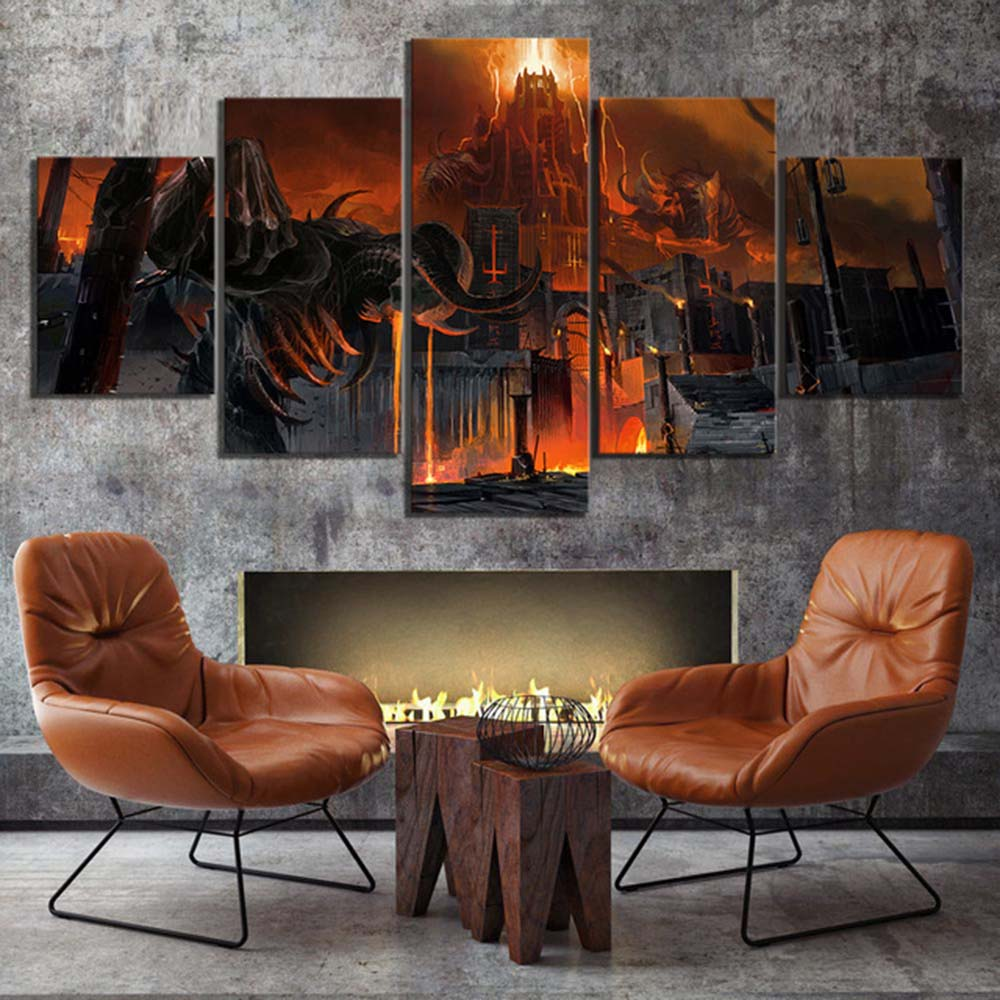 Skull Skeleton Halloween Candle 5 Pcs Canvas Wall Art Picture Poster Home Decor