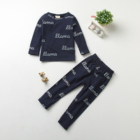 2017 Autumn Tiny Cotton Boys Girls Sets Kids Letter Printing Long Sleeve T Shirts Pants Baby