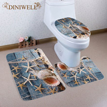 DINIWELL 3Pcs/set Coral Velvet Toliet Starfish Zakka Style Conch Cover Pad Cushion Mats For Bathroom подушка декоративная zakka zakka mp002xu02uh4