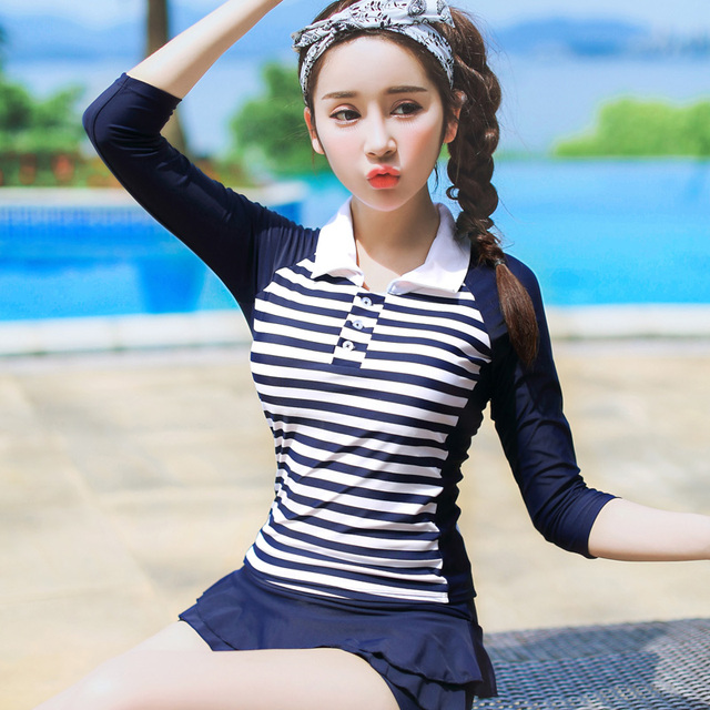 fdfa0bdcdbf Modern Two-piece Swim Suits Navy Blue Stripes Swimwear Long Sleeve Swimsuit  Tankinis Set Modest Bathing Suit for Women Girls