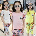 2017 summer new girls clothing set cute flower print cotton O neck t-shirt+ floral pants 2pcs set for girls Capri suits 4-13T