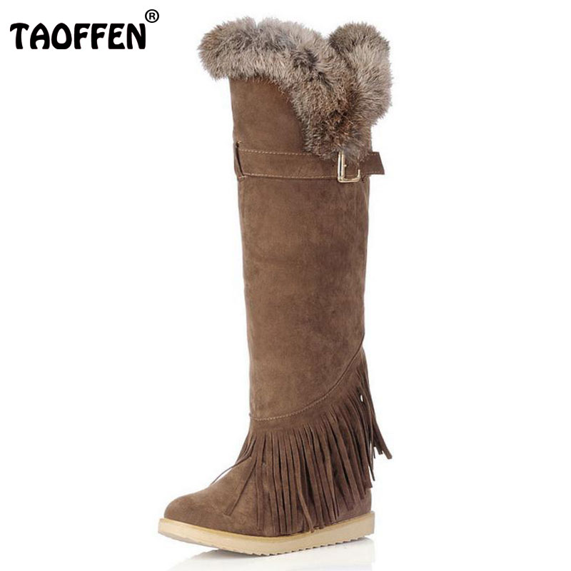 TAOFFEN Women Over Knee Heel Boots Buckle Fringe Heels Boots With Fur Winter Shoes Snow Botas Woman Footwear Size 34-43 women round toe ankle boots woman warm fur winter snow boots new fashion buckle style footwear low heel shoes size 34 43