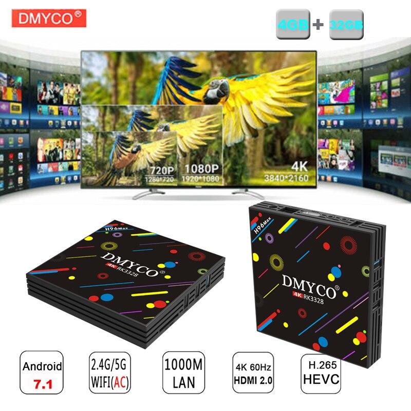 H96 MAX smart android 7.1 tv box Rockchip RK3328 Quad-core 4GB RAM 32GROM WiFi 2.4G/5G Bluetooth 4.0 4K support iptv set top box h96 max 4gb ram 64g rom android 7 1 smart tv box 2 4g 5g wifi rockchip rk3328 quad core support h 265 bt4 0 4k pk tx9 pro x92