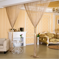 2.9x2.9m Shiny Tassel Flash Silver Line String Curtain Window Door Divider Sheer Curtains Valance Home Wedding decoration