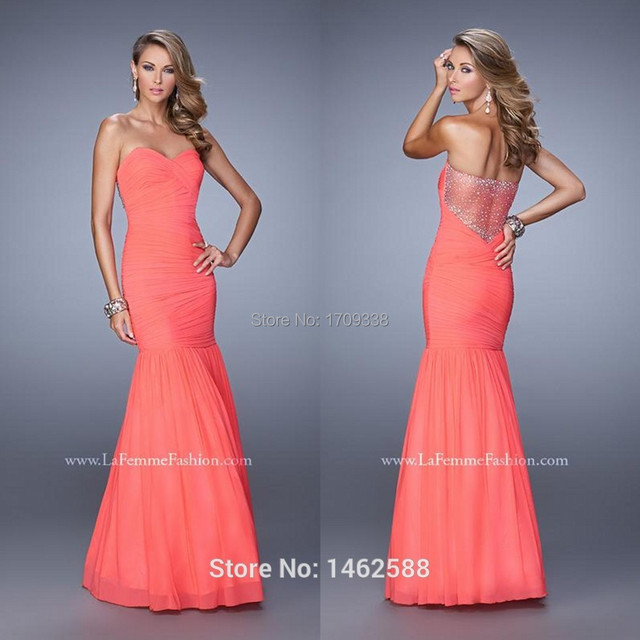 Sparkly Beaded Nude Back Pleated Chiffon Coral Mermaid Long Prom Gowns Evening Formal -3641