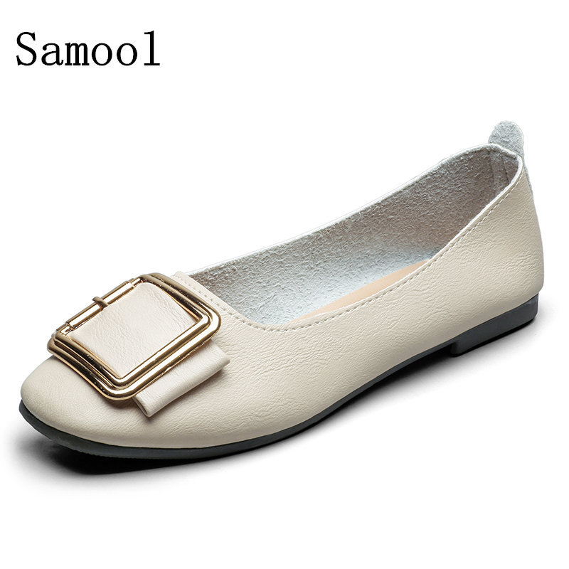 2017 Spring Autumn Shoes Brand  Leather Flats Women Shoes Shallow Mouth Casual Fashion Women Casual Shoes Slip On beyarne rivets decoration brand shoes flats women spring autumn fashion womens flats boat shoes sexy ladies plus size 11
