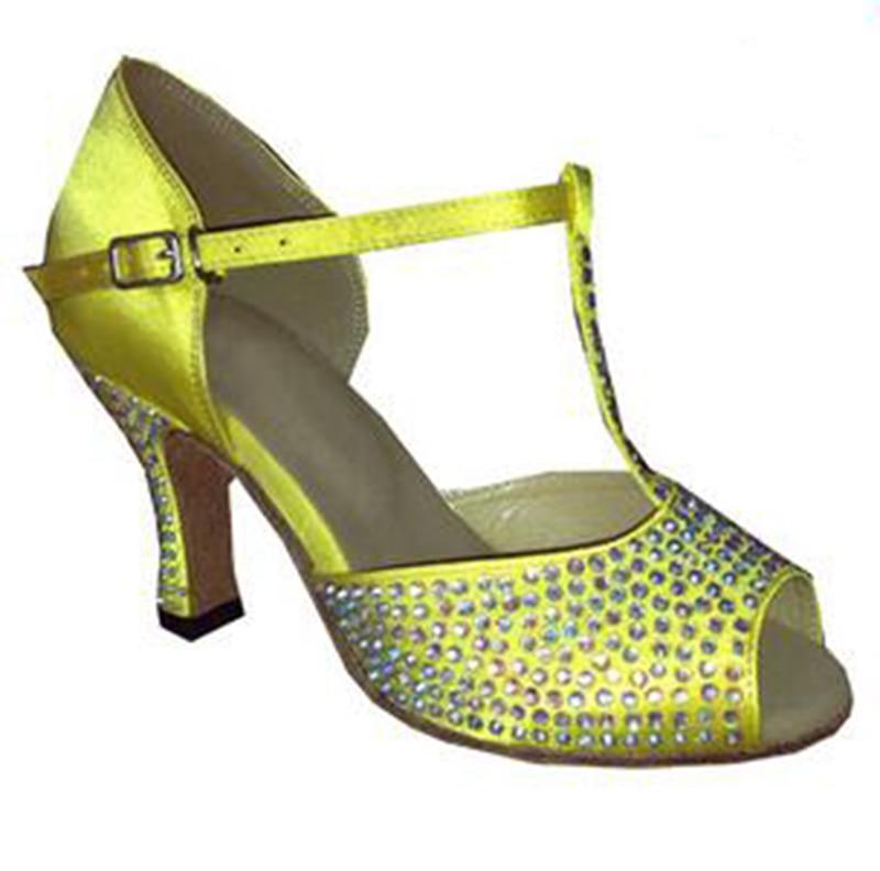 New Ladies Buff Satin Rhinestone SALSA Dance Shoes Latin Dance Shoes Tango Shoes Ballroom Shoes for Women