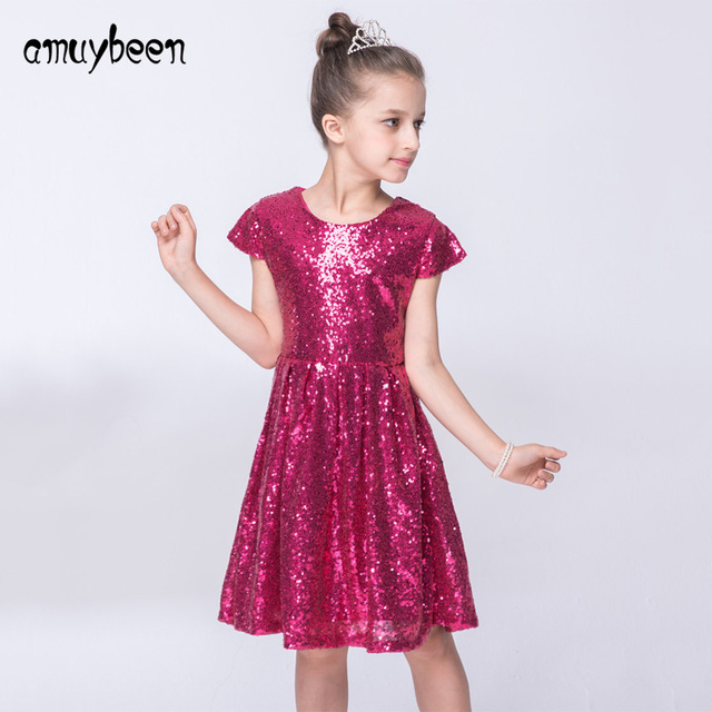 Amuybeen 2018 Girls Sequins Party Princess Dress Baby Pink Blue ...