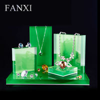 ירוק תפוח FANXI DHL express חינם Custom plexigalss בעל תכשיטי עבור חנות וחנות מרצה כל תצוגת תכשיטי סט