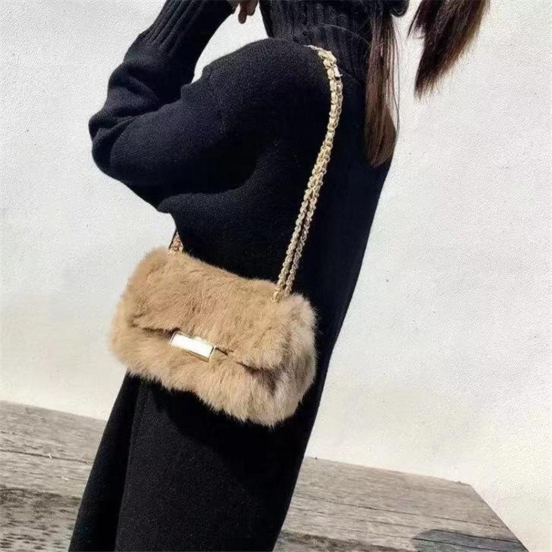 Hot Fashion brand ladies handbag shoulder bags women small messenger bags ladies fur design handbag with female crossbody bag in Shoulder Bags from Luggage Bags