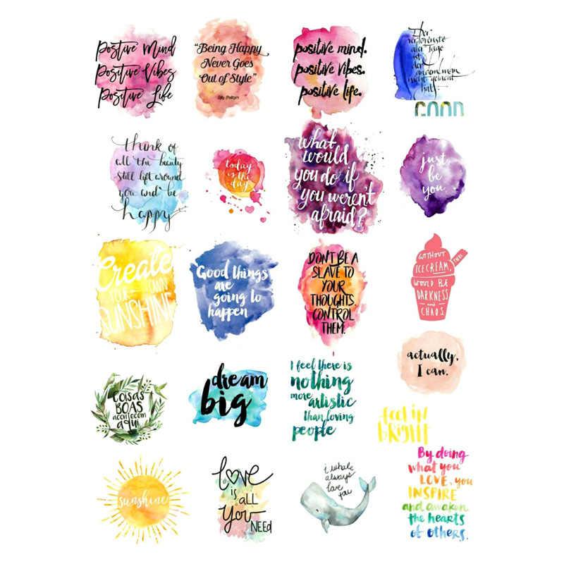 2pcs Watercolor English Words Diy Decor Scrapbook Bullet Journal