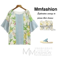 ENSOGO Women Bird Floral Patchwork Loose Shirts Butterfly Sleeve O Neck Blouse Ladies Summer Fashion Casual
