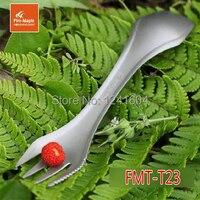 Feu d'érable fmt - t23 Portable pliable Camping Spork de titane couteau titane fourche couverts vaisselle 3 en 1 cuillère / fourchette / couteau