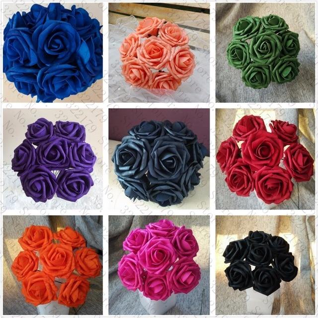 Various Colors Foam flowers Artificial Fake Rose DIY Handmade 50 ...