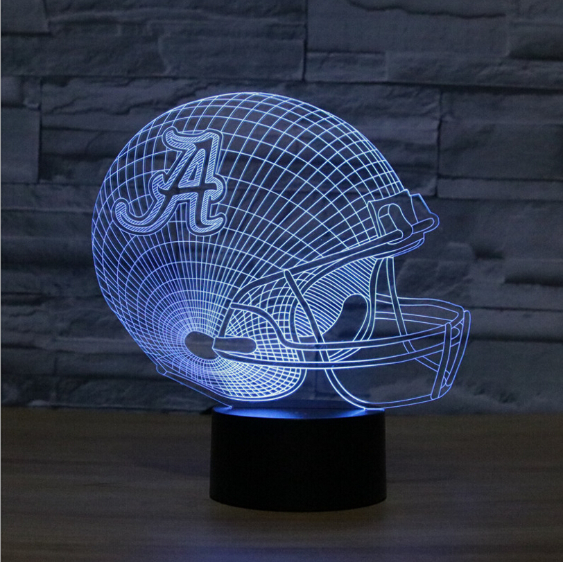 LED 3D lamps Alabama Crimson Tides Night Light NFL Football Helmet Table Touch 7 Colors Desk Lamp Luminaria USB Gifts Toy night tides