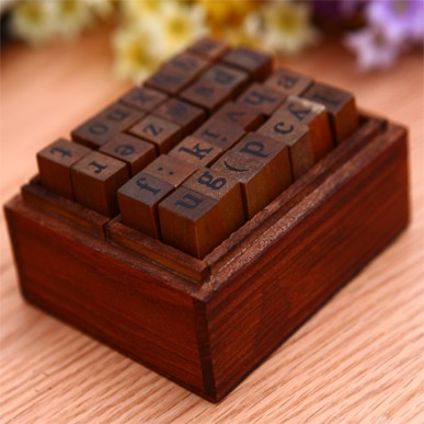 2014 FUNNYMAN wood box alphabet stamps letter seal...
