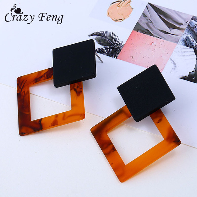 Exaggerated 2018 Geometric Big Hollow Drop Earrings for Women Summer Square Earr