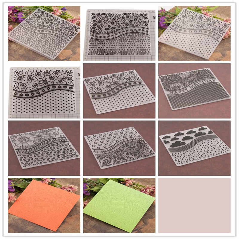 New DIY Photo Album Card 1Pc Embossing folders EM101-EM120 Plastic Embossing Folder For Scrapbooking