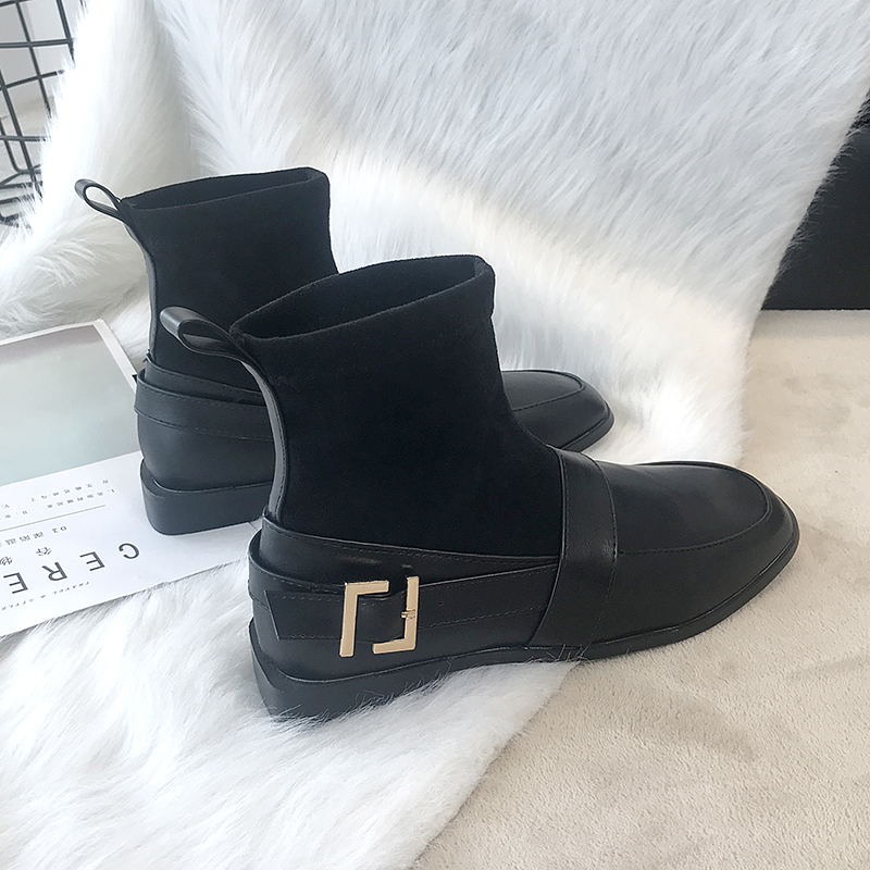 Ankle Boots For Women Fashion Slip On Sock Boots Winter Boots 2019 New Leather Boots Women Sexy Black Boots Plush Soft Ladies in Ankle Boots from Shoes