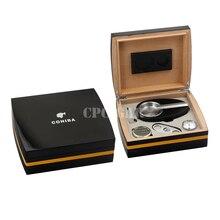 COHIBA Luxury Black High Gloss Cedar Wood Cigar Humidor Case Six-piec set with Gift Box