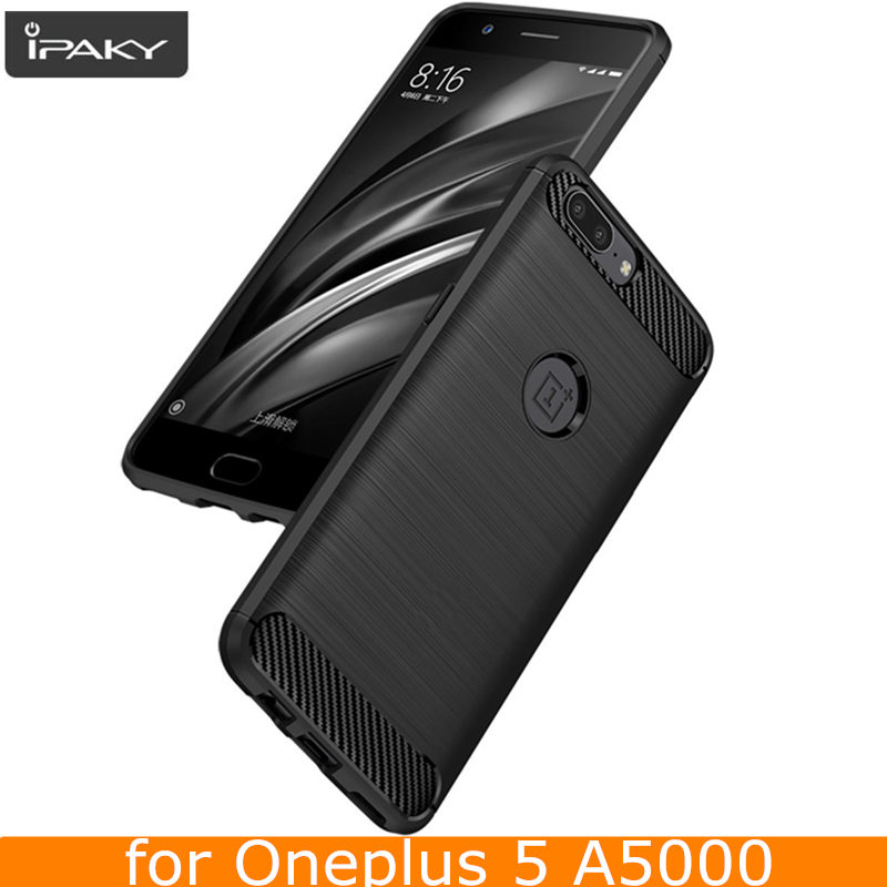 for OnePlus 5 Case Original IPAKY Silicone Carbon Fiber Hybrid Protective Cover for OnePlus 5 Case Cover
