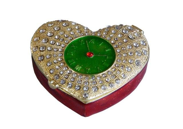 Heart shape fashionable jewelry box rhinestone trinket Box pewter
