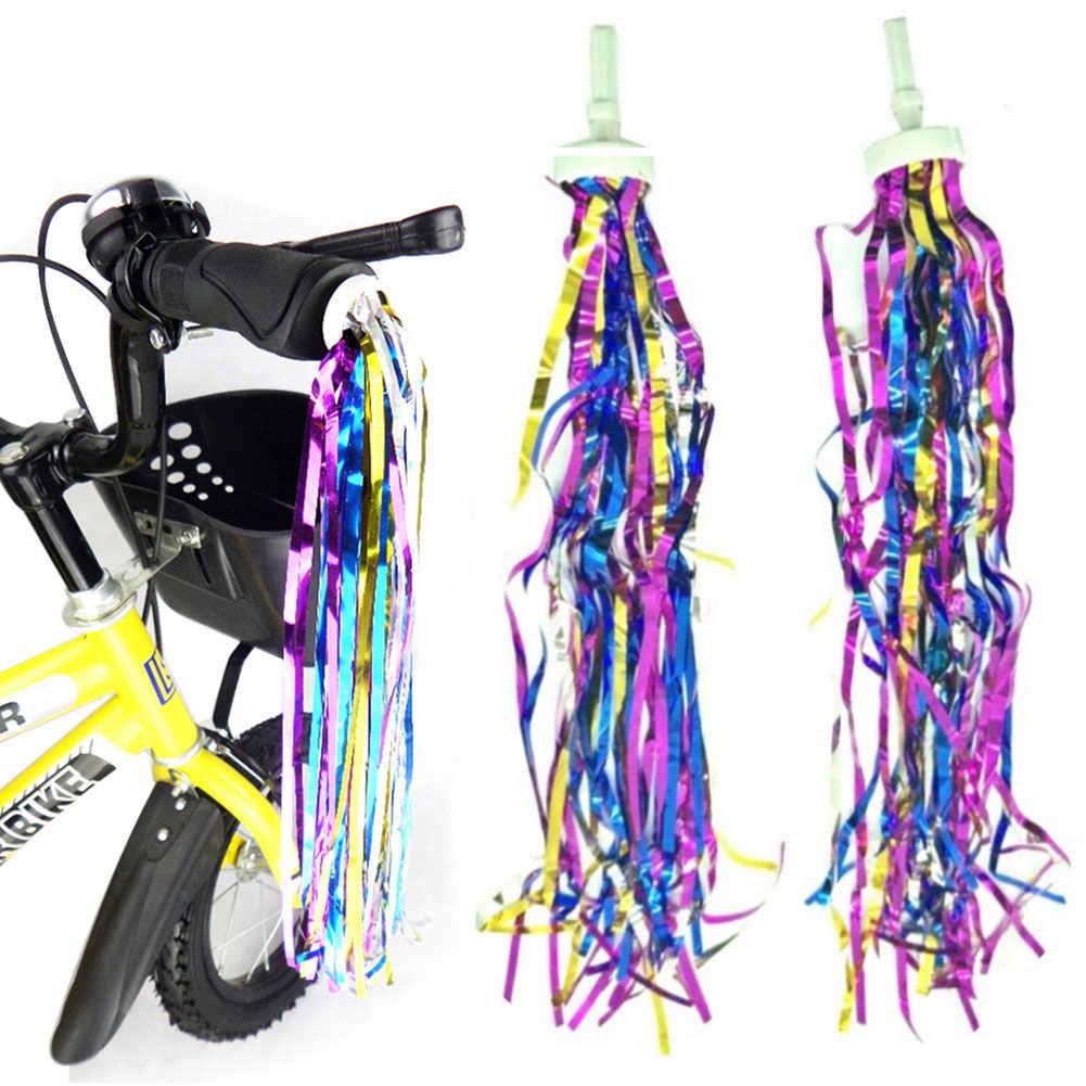1 คู่จับเด็ก Carrier จักรยาน PVC พู่อุปกรณ์เสริมที่มีสีสันตกแต่งริบบิ้นเด็กสกู๊ตเตอร์ติดตั้งง่ายทนทานเด็ก