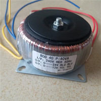 12V 1A 24V 1A Ring transformer copper 40VA 240V input custom toroidal transformer for power supply amplifier
