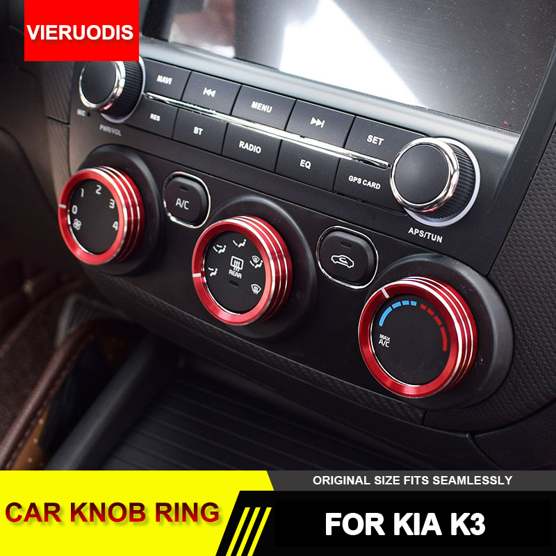 3pcs/set Car AC Knob Ring Cover Air Conditioning Switch Buttons Decorative Cover Car Accessories Replace for KIA K3 2015-2018
