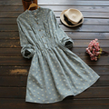 Chest fold flower print  Retro Art stand collar  long sleeve loose dress mori girl Autumn