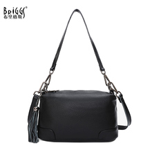BRIGGS fashion women handbag female shoulder bag genuine leather ladies hand bags with tassel crossbody for sac