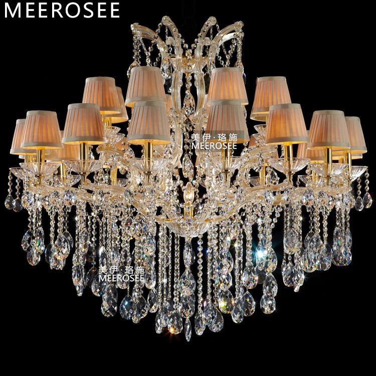 Luxurious Crystal Maria Theresa Chandelier Large Golden Clear Crystal - Indoor Lighting