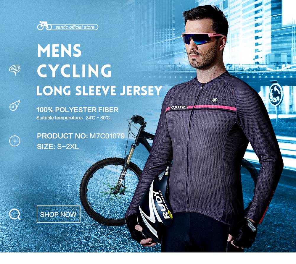 Santic Men Long Sleeve Cycling Jerseys Pro Fit Road Bike MTB Top Jersey Spring Summer Cycling Clothings WM7C01079 176 top quality hot cycling jerseys red lotus summer cycling jersey 2017s anti uv female adequate quality sleeve cycling clothin