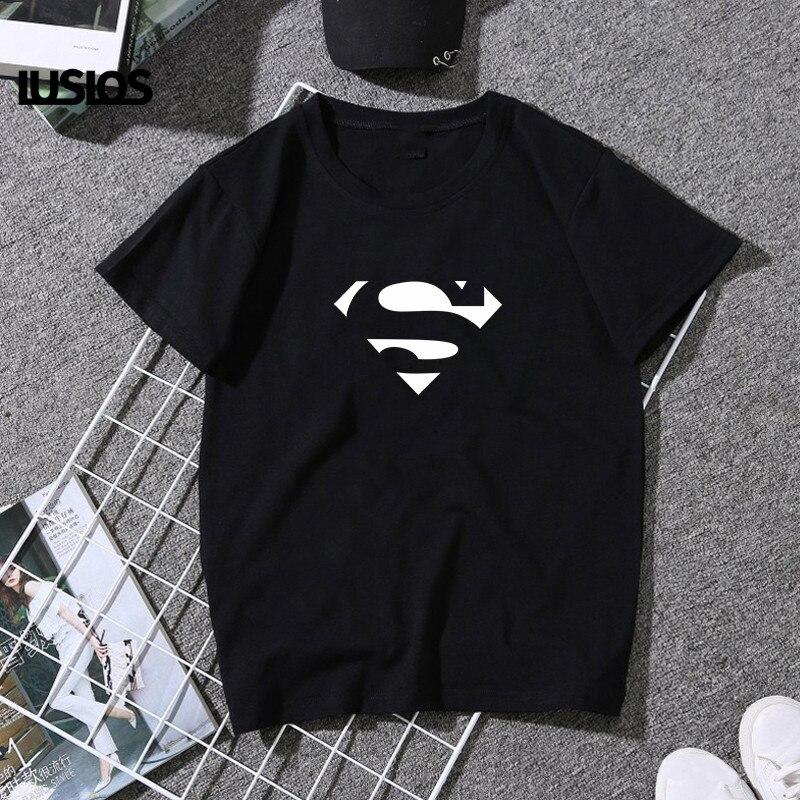 LUSLOS Superman Marvel T Shirt femmes été à manches courtes blanc noir décontracté o-cou T-shirt super-héros Femme Streetwear Harajuku T