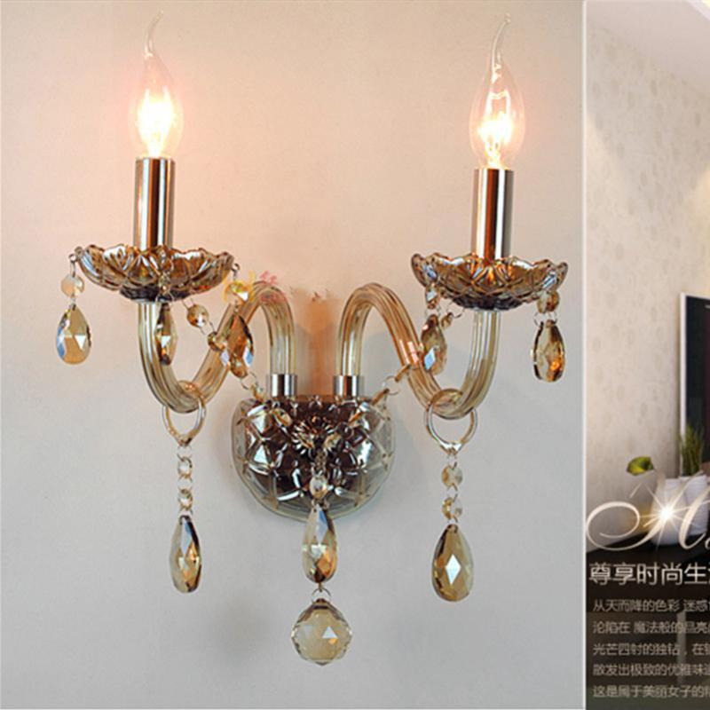 2-arm antique candle wall Lamp Cognac Crystal led fixture Lamparas De Pared Bedroom Kitchen retro indoor Wall Light sconce Italy2-arm antique candle wall Lamp Cognac Crystal led fixture Lamparas De Pared Bedroom Kitchen retro indoor Wall Light sconce Italy