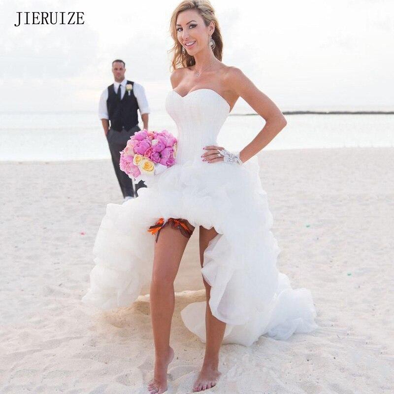 JIERUIZE White Organza Hi Low Beach Wedding Dresses Sweetheart Front Short Long Back Boho Bridal Dress Wedding Gowns