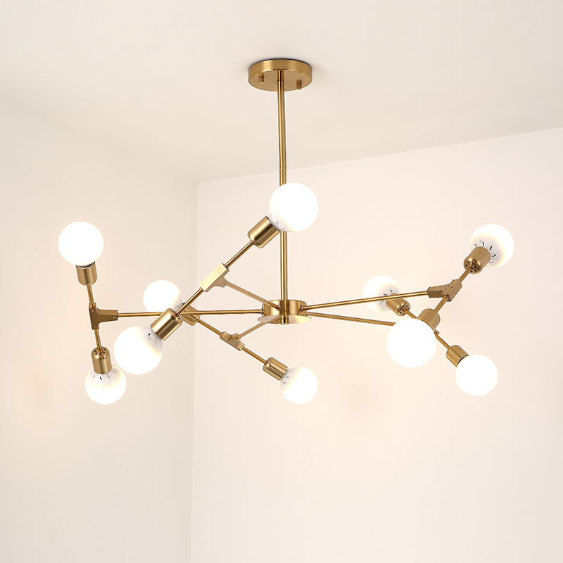 LED chandelier Nordic living room chandelier simple creative personality restaurant bedroom branch molecular lamp