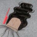 7А Объемная Волна высокое качество Шелк База Закрытие Индийские Волосы 4*4 дюймов Отбеленные Узлы Free/Средний/третья Часть Перуанский Шелк База закрытие