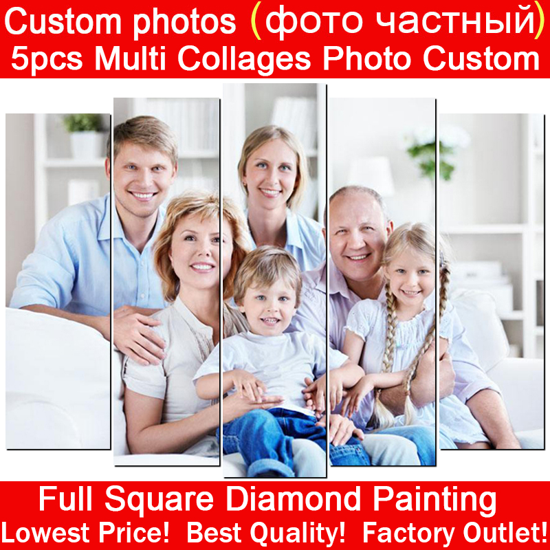 5pcs Multi Collages Photo Custom Full Square Diamond Embroidery Diy 5D Diamond Painting 3D Cross Stitch Mosaic Home Decor Gift collage