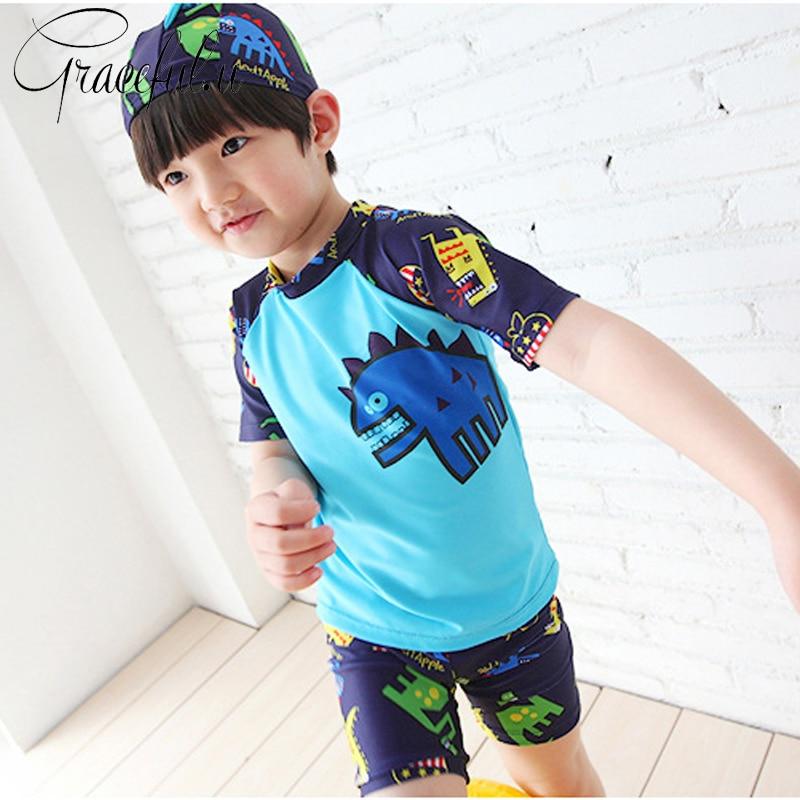 חם בני בגד ים 3 יח'\סט כובע + חולצות + מכנסיים ילדים בגדי ים בני וחוף ספורט בגד ים לילדים