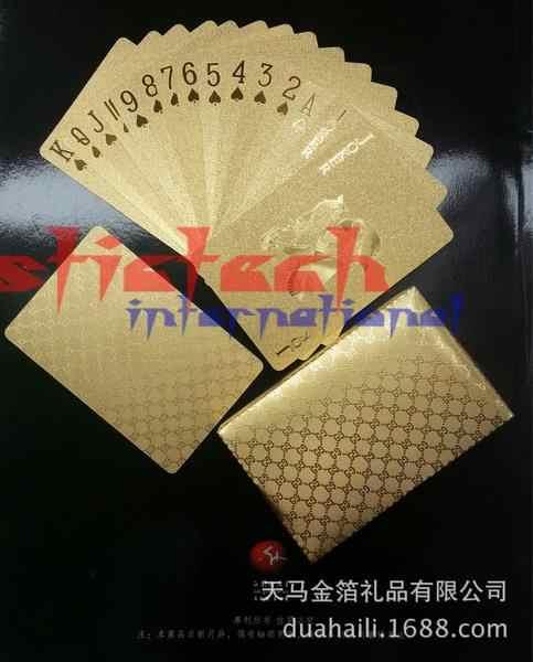Da dhl o ems 200set Durevole Impermeabile di Plastica PlayingCards 24K GoldFoil Poker Placcato PlayingCards