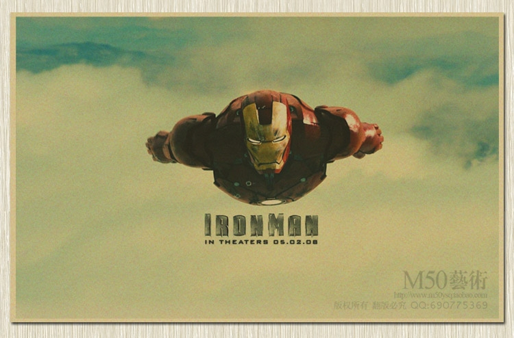 Nostalgic Vintage Iron Man Quot Retro Superhero Old Paper Classical Movie Poster Retro Wall Sticker Home Decoration