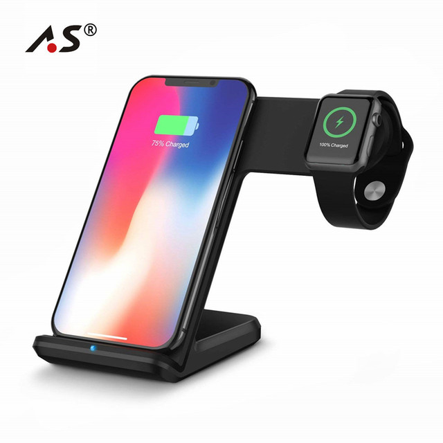 2 in 1 Wireless Charging for Apple watch 1 2 3 4 Qi Fast Wireless Charger Dock Stand for iPhone XS X 8 Plus Samsung Galaxy S9 S8
