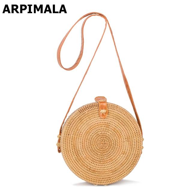 ARPIMALA 2017 Böhmischen Bali Rattan Taschen für Frauen Kleine Kreis Strand Handtaschen Sommer Vintage Strohsack Handarbeit Crossbody