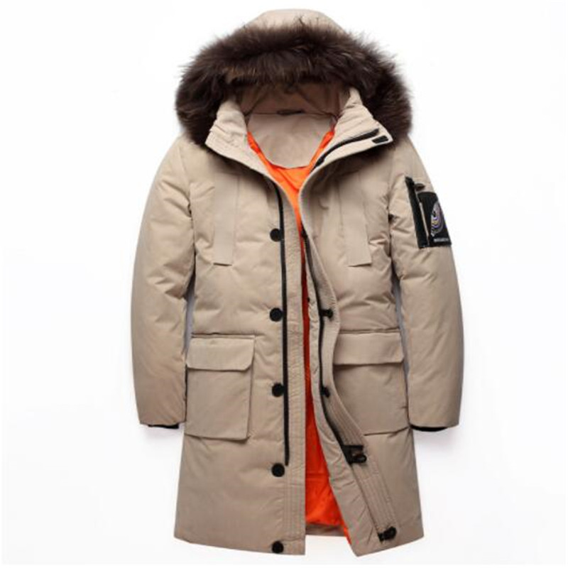 2019 Winter New Men's White Duck   Down   Jacket Fur Collar Long Hooded Casual Thick   Down     Coat   Male Brand Clothes Big Size 4XL 5XL